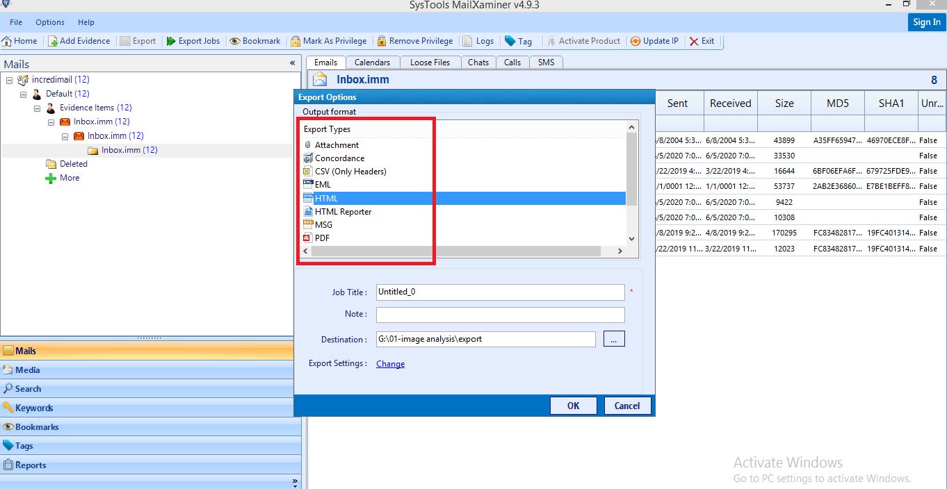 Export IncrediMail Mailbox Forensics