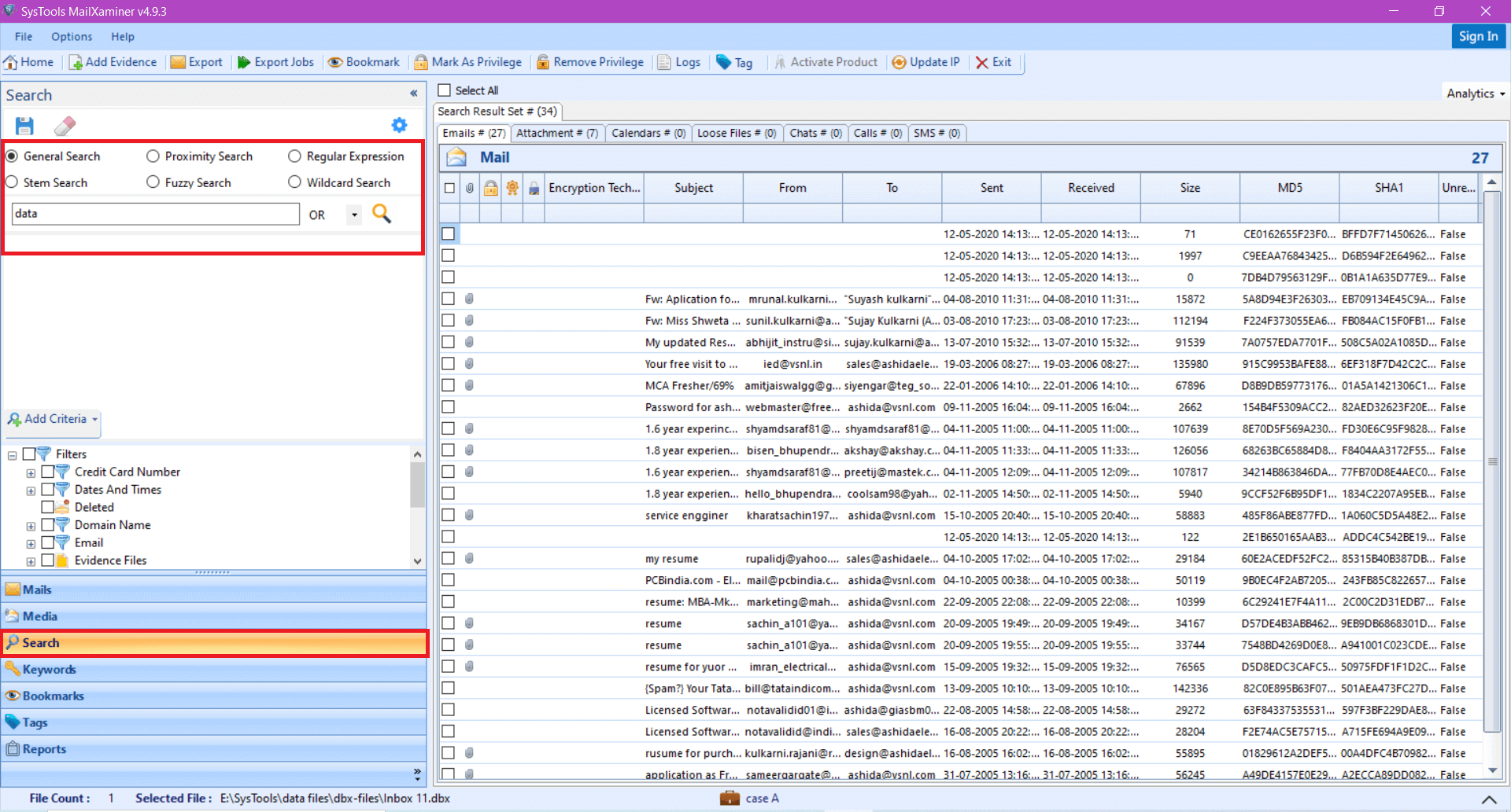 Outlook Express Email Forensics Search