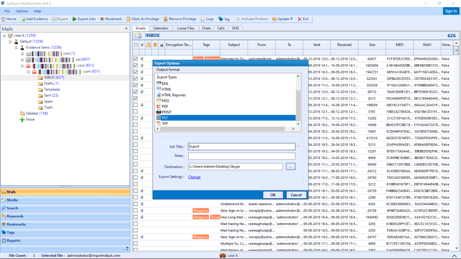 Zoho Mail Forensics Export Options