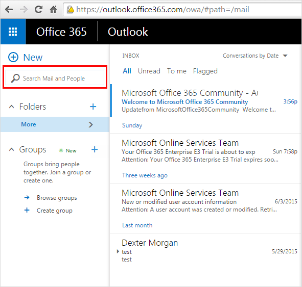 Office 365 search panel