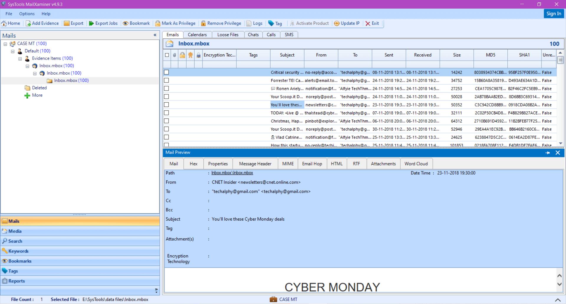 Thunderbird Email viewer
