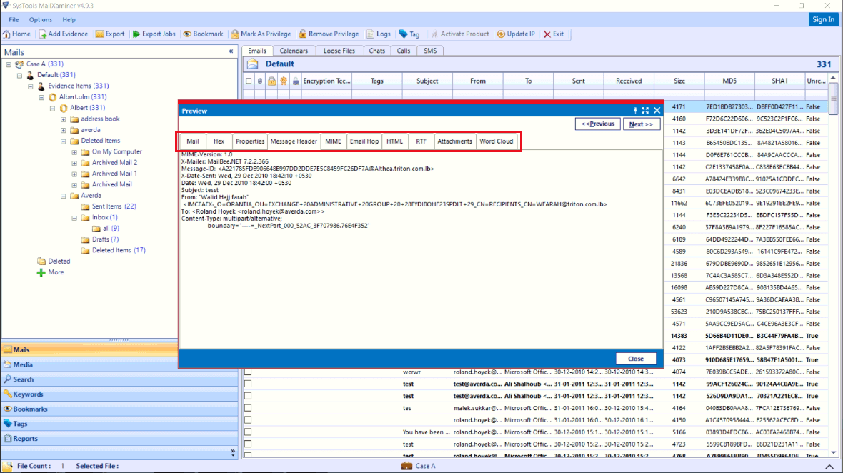Normal mail, Hex, Properties, Message Header, MIME, etc.