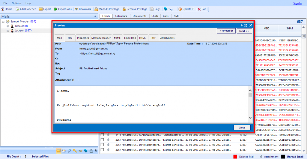Export PST file into CSV file format & extract header Information