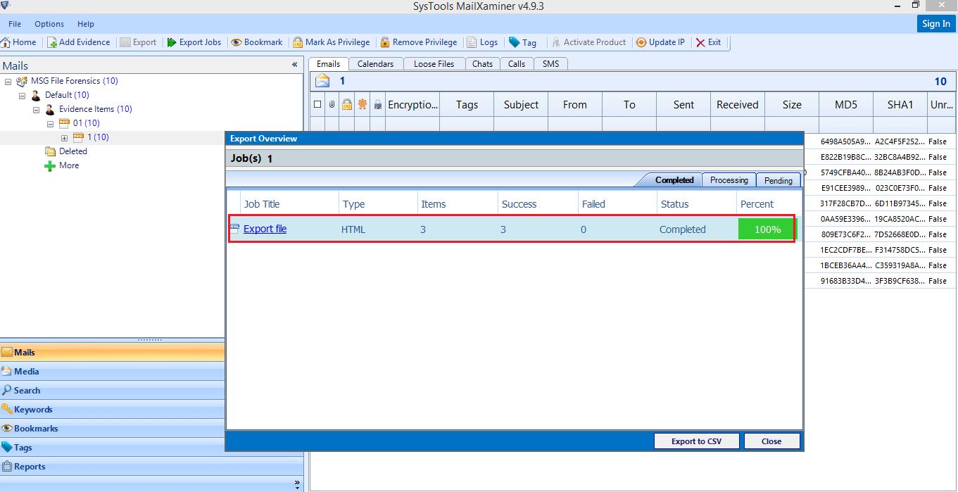 Export MSG File Analysis Data