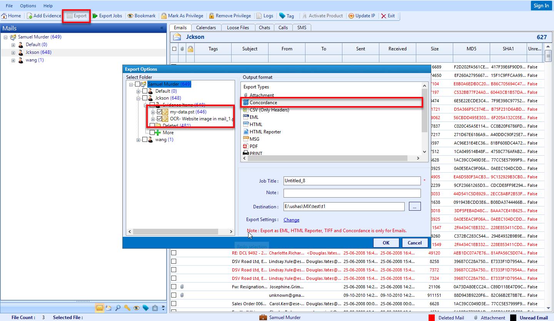Folder export