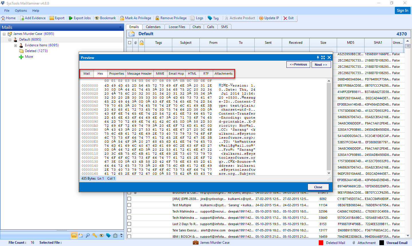 view analysis of eml file