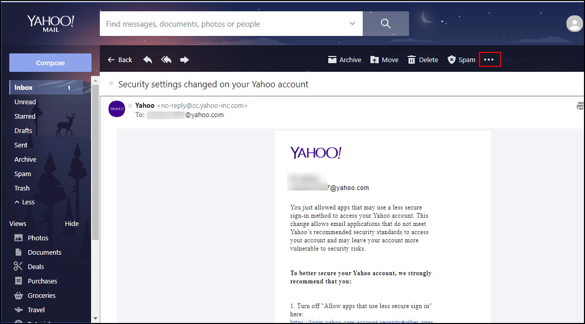 yahoo mail less secure sign in