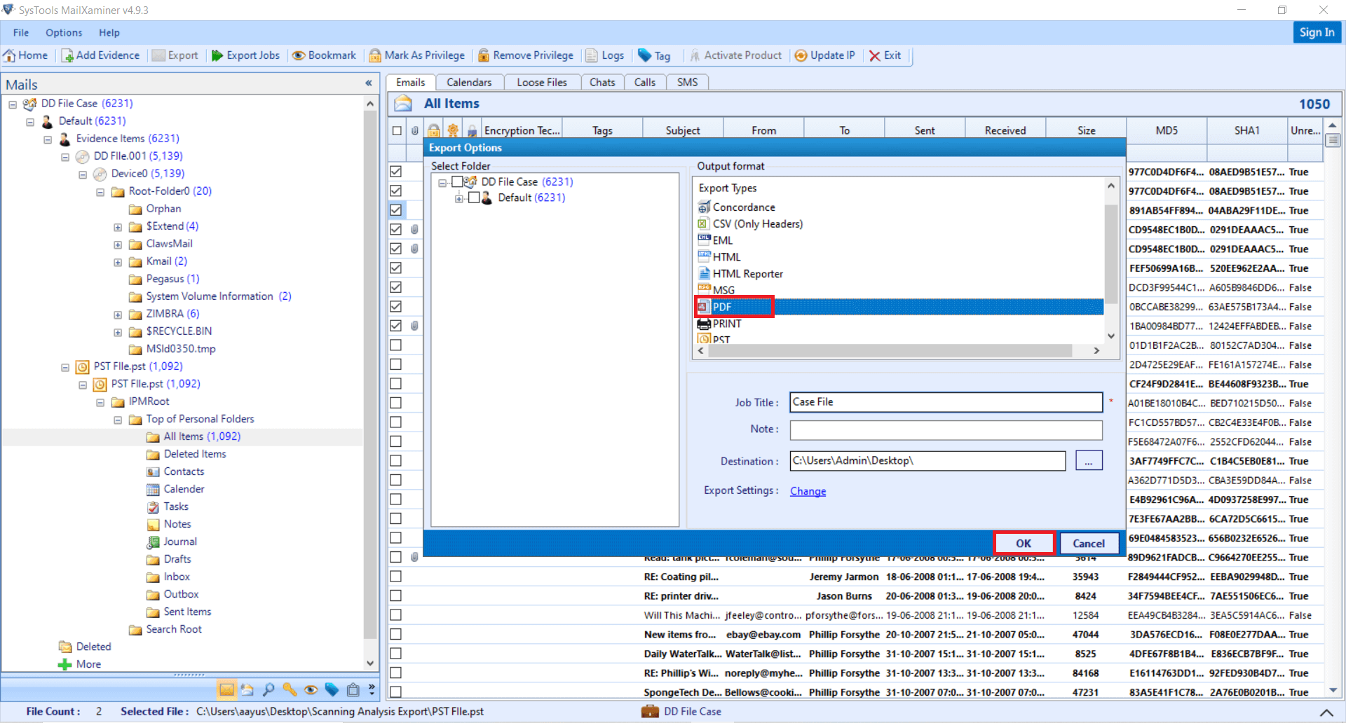 Export DD File Forensics Artifacts