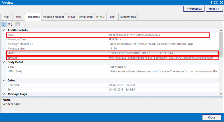 Hash Value for EML File Forensics