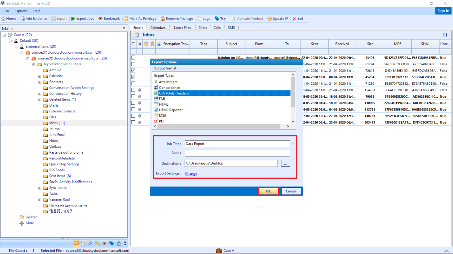 Office 365 Email Forensics: Export Options