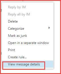 View Office 365 Email Header