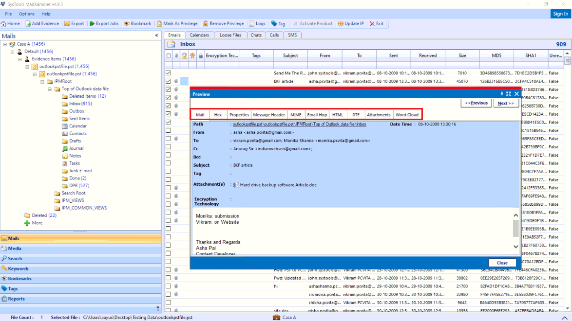 Examine Outlook PST Files