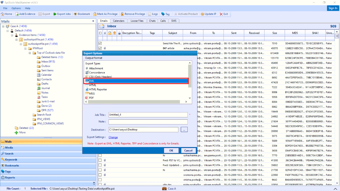 Extract Evidence from Outlook PST File into EML