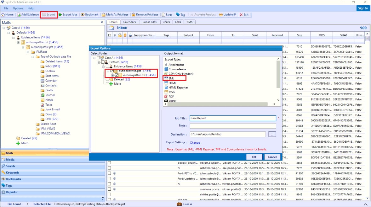 Save Selected Mailbox Information in EML File
