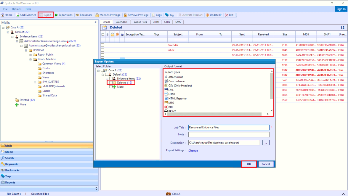 Save Recovered Evidential Data