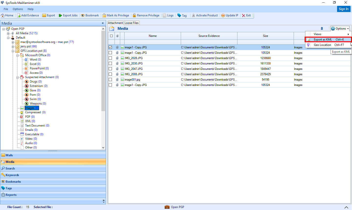 Export File in KML Format